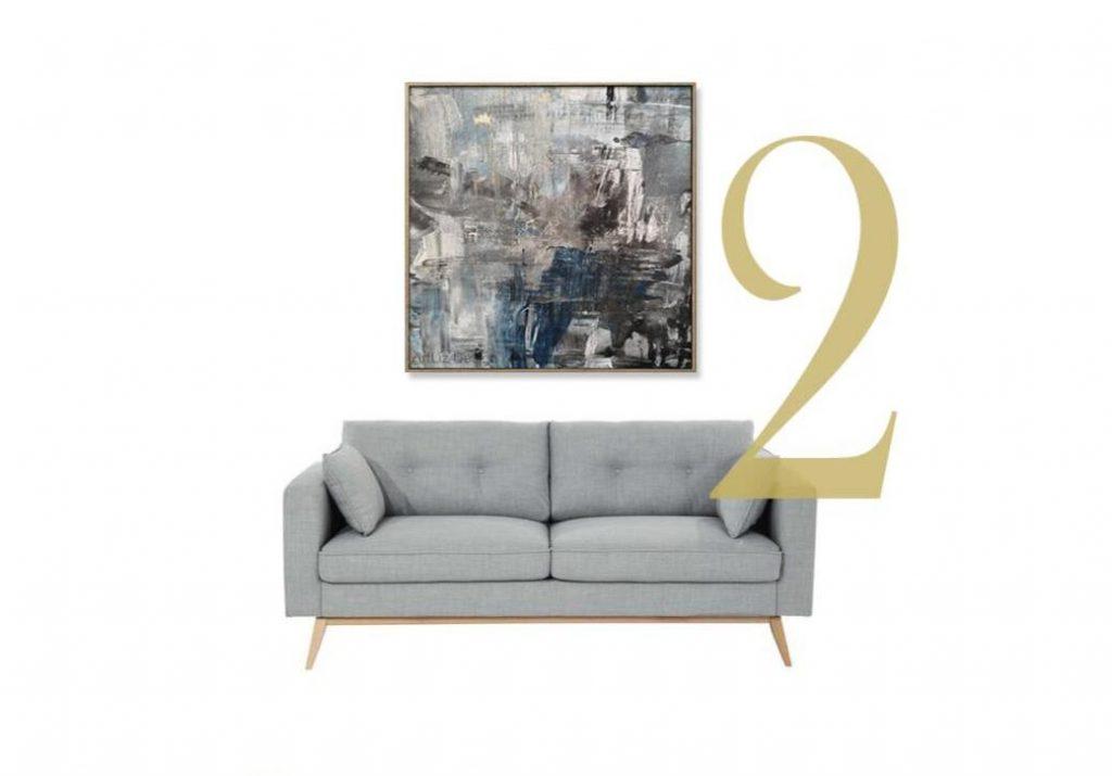 a kanapé vagy más nagy bútor fölött elhelyezett kép szélessége kb a bútor kétharmada legyen, de ne haladja meg a bútor szélességét